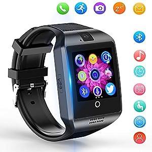 Reloj Inteligente, Smartwatch Bluetooth y Ranura para Tarjeta SIM con Rastreador de Actividad, Podómetro, Cronómetros Reloj de Fitness, Reloj Iinteligente Hombre Mujer niños Android/iOS Phone (Negro-2) 6