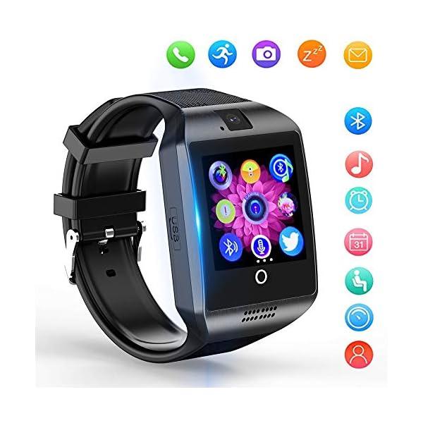 Reloj Inteligente, Smartwatch Bluetooth y Ranura para Tarjeta SIM con Rastreador de Actividad, Podómetro, Cronómetros Reloj de Fitness, Reloj Iinteligente Hombre Mujer niños Android/iOS Phone 1