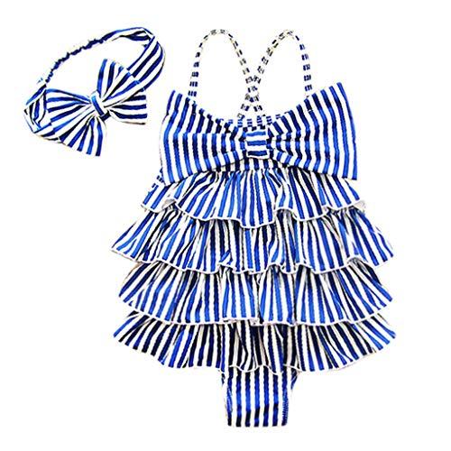 XNBZW Kid Baby Girl Einteiler Streifen Bikini Rüschen Bademode Badeanzug Badeanzug(Länge: ()