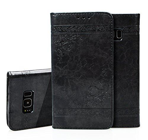 Para Samsung Galaxy S8 Plus Funda, Ecoway Serie de patrones en relieve(Negro) Cuero de la PU Leather Cubierta ,Función de Soporte Billetera con Tapa para Tarjetas Soporte para Teléfono