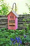 Insektenhotels, Kombi Metallstiel mit Metallstiel / Schäferstab 1,25 m Höhe robust, BD-MMS pink rosa Schmetterlingskasten röt Schmetterlinge Schaukasten als Ergänzung zum Meisen Nistkasten Meisenkasten oder zum Vogelhaus Vogelfutterhaus Futterstation für Vögel