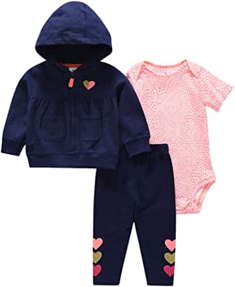 Baby Jungen Outfit Set M/äntel mit Kapuze Hosen 3er Pack Langarm Pyjama Jacke Lang Hose 3-18 Monate Strampler