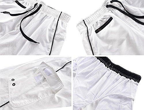 Nonwe Herren Beachwear Board Shorts Schnell trocken mit Mesh Futter Swim Trunks Weiß