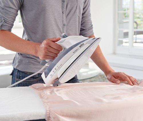 Braun TS775TP - Plancha ropa vapor, 2400 W, 5 bares presión, 170 g/min, asa abierta, fácil uso y limpieza, 0.4 l, gris y blanco