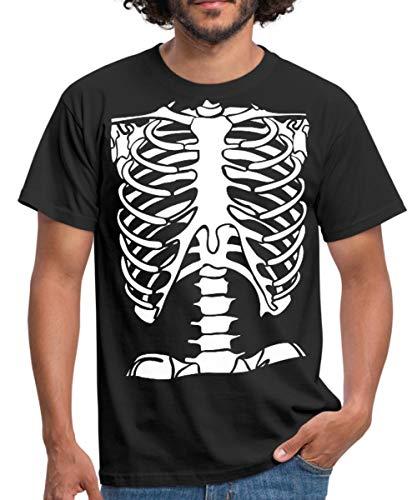 Spreadshirt Skelett Brustkorb Männer T-Shirt, 4XL, Schwarz (Skelett Anatomie Shirt)