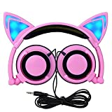 Cuitan Foldable Kids Headphones, Over-Ear Cosplay Earphones with Glowing Cat Ears Gaming Wired