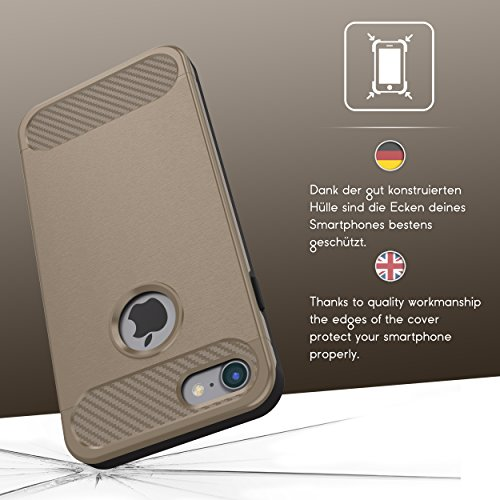 Urcover® Apple iPhone 7 Schutzhülle Carbon Optik Design Dual Layer in Champagner Gold Back-Cover Cross Case Smartphone Bumper & Schale Champagner Gold