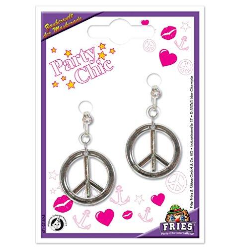 ce-Zeichen in silber mit Clip (Hippie Peace Zeichen)
