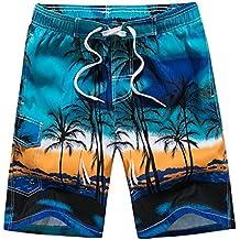 Vertvie Homme Short de Bain Plage Hawaienne Séchage Rapide Boardshorts  Bermudas Casual Imprimé Pantalon Court Casual e294b4be4b7