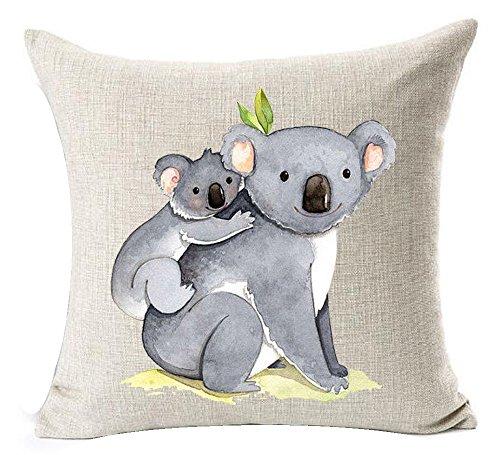 "Lovely cute Animal Mother and Son koala Bear Love you throw waist quadrata in cotone federa cuscino federa divano 45,7x 45,7cm, Cotone, 1, 18\""X 18\"""