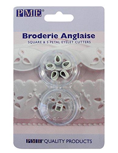 PME BA401 Lochstickerei-Ausstecher für Rechtecke und 5 Blütenblätter im Stil Englische Stickerei, Sortiment, Kunststoff, Ivory, 2 x 2 x 1.5 cm, 2-teilig (Fabric Cutter Electric)