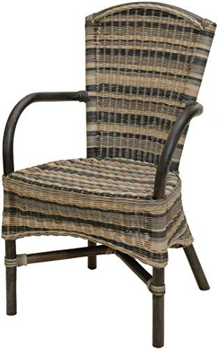 Mehrfarbiger Rattan Esszimmer-Sessel/Küchenstuhl hohe Rückenlehne/Hoher Esszimmer-Stuhl mit Armlehne/Korbsessel aus Natur Rattan (Mix, mit Armlehne)