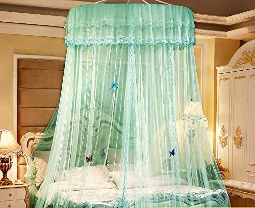 TINGYIN Runder, doppelschichtiger Spitzengardinen-Bettschirm Princess, Höhe 270 cm, super breit, super lang, super stark, mückenabweisend