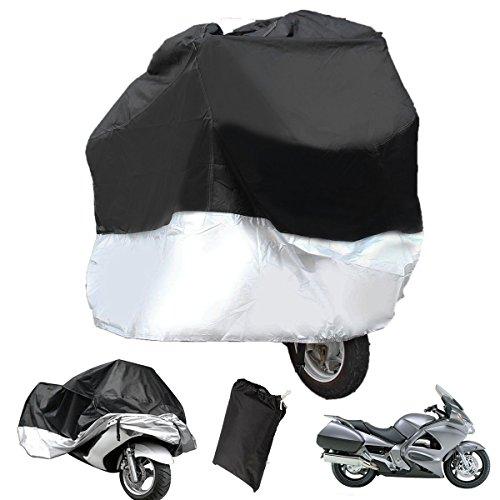 WINOMO Wasser Resistent Staubdicht Motorrad Cover Ultra Violet Schützende Atmungsaktive Motorrad Cover - Größe XL (Schwarz und Silber)