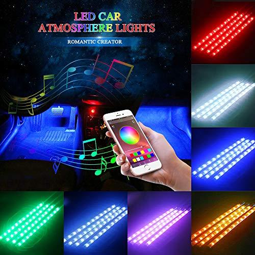 Striscia LED Auto con APP, 48 LED Luci per interni auto Musica Attivato da suono Multi-color atmosfera Light Bar Musica Attivata dal Microfono + Vari Colori + Controllo APP per decorare Auto