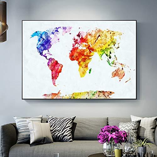 Aquarell Weltkarte Poster Und Druck Für Babyzimmer Abstrakte Wand Graffiti Karte Kunst Leinwandbild Für Wohnzimmer Dekoration 20x30 cm ungerahmt Multi