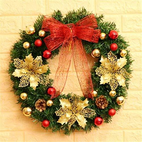STEAM PANDA Guirlande De Noël Artificielle De Noël Décoration Rotin Cercle Porte Suspendue De Noël Décorations 40 CM Guirlande De Noël
