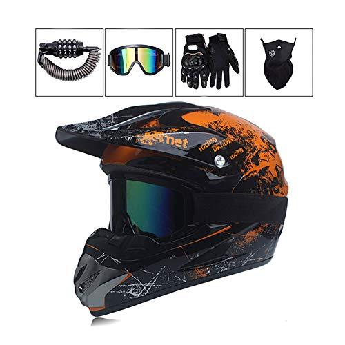 LEENY Motocross Helm - Erwachsener Motorrad-Off-Road-Helm mit Brille/Maske/Handschuhe/Schloss, Cross-Helm DH Sport Enduro Helm ATV BMX Quad Motorräder-Helm, Orange,L - Fox Racing Mädchen Handschuh