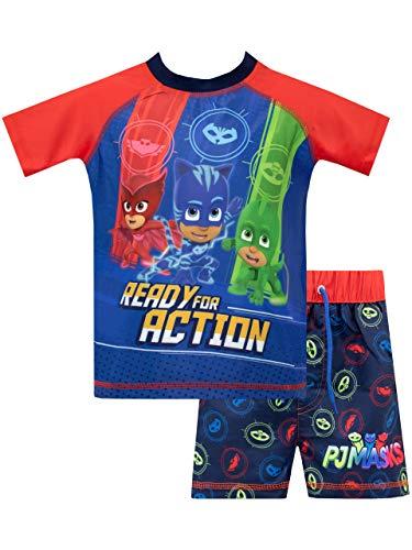 PJ Masks Bañador de Dos Piezas para niño Catboy Owlette Gecko Azul 2-3 Años
