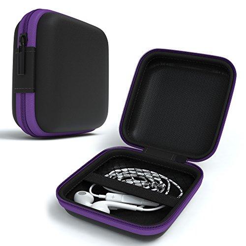 EAZY CASE Universal Tasche für In-Ear Kopfhörer mit Netzfach - Hardcase Aufbewahrungsbox, Schutztasche mit umlaufenden Reißverschluss, extra klein, eckig, Lila thumbnail