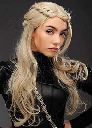 Damen Deluxe Mutter der Drachen Style Ash Blonde Perücke (Erwachsenen Ash Kostüm)