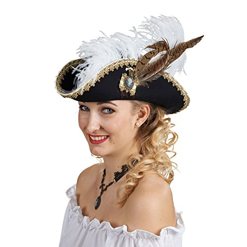 Ladyhut zum historischen Piratin Kostüm - Toller Wollfilzhut mit Schmuckdekoration zum Piraten Kostüm für (Feder Hut Piraten Mit)