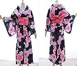 Kawaii-Story K-034 Schwarz Weiß Pink Lila Blumen Original Traditionell Japan Damen Kimono Yukata Obi Gürtel Baumwolle