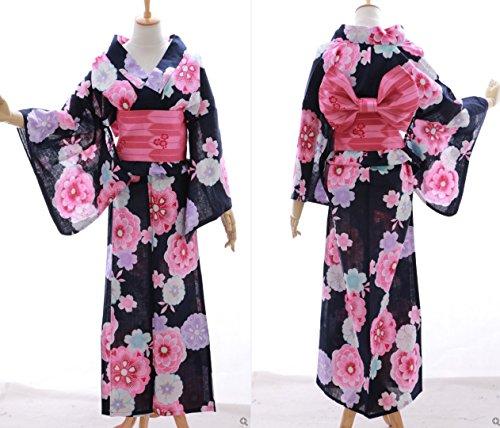 Kawaii-Story K-034 schwarz weiß pink lila Blumen ORIGINAL traditionell Japan Damen Kimono Yukata Obi Gürtel Baumwolle -