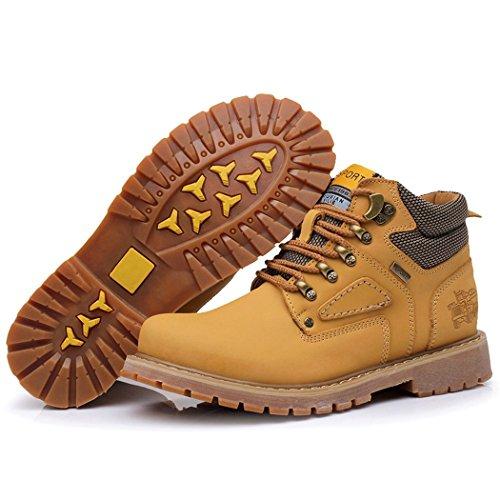 ZQ@QXAutunno e Inverno uomini casuale testa Calzature Scarpe Stivali in pelle Stivali Stivali Stivali Martin rivetto yellow (Dan Xie)