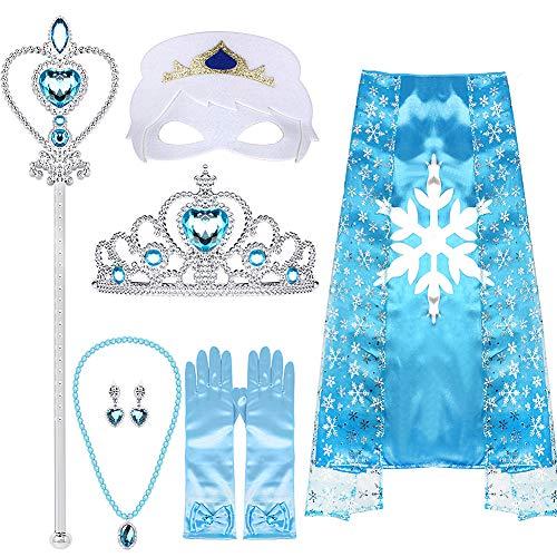 essin ELSA Kostüm, Tiara, Zopf, Zauberstab, Umhang, Maske, Blau Handschuhe, 9 Set Mädchen Party Cosplay Accessoires, (Blau) ()