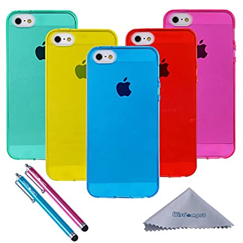 iPhone 5s Case, Wisdompro® 5 Pack Bundle of Clear Jelly Colorful Soft TPU GEL Protective Case Covers (Blue, Aqua Blue, Hot Pink, Yellow, Red) for Apple iPhone 5, iPhone 5s, iPhone SE