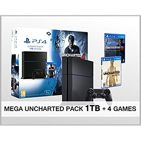 Playstation 4 PS4 1TB MEGA PACK UNCHARTED + 4 Juegos - Uncharted: The Nathan Drake Collection (3 en 1) + Uncharted 4 - Consola PS4 de 1