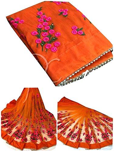 Mira Fashion Women\'s Mono net Embroidery work Saree With Blouse Piece (Orange, Free Size)