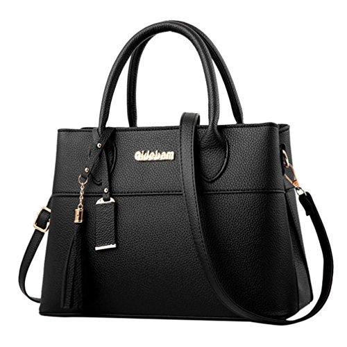 Longra Borsa a tracolla per borse a tracolla in pelle artificiale con decorazione a nappe in pelle di moda tinta unita Nero