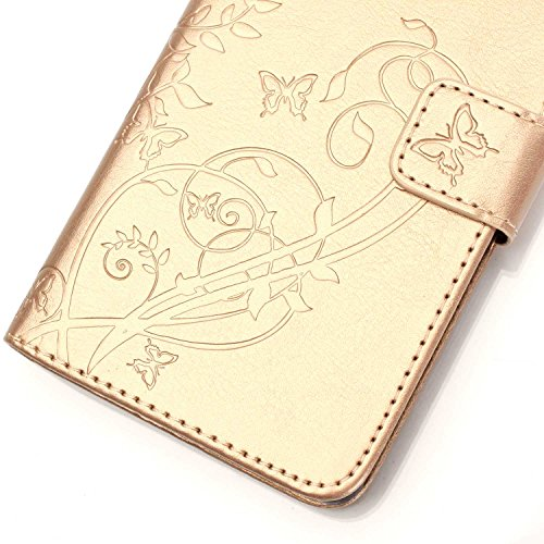 Coque pour iPhone 4S, Housse pour iPhone 4S, iPhone 4/4S Etui en PU Cuir Portefeuille Coque Bookstyle Étui Folio Housse, Ukayfe Etui de Protection PU Cuir Portefeuille Housse Swag Leather Cartoon Case Papillon-d'or