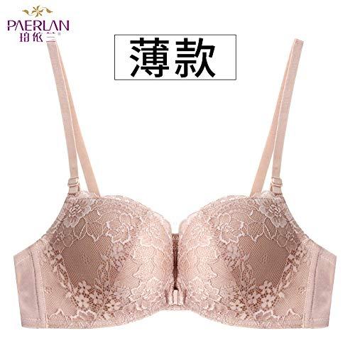 Die Geburt des BH Brust Lace Front Schnalle kein Stahlring BH Neue kleine Brust Schönheit zurück Unterwäsche weiblichen BH Khaki (dünn) 80A