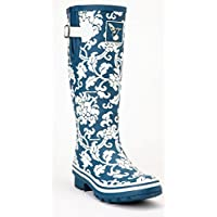 Evercreatures Ladies Delft Wellies Blue with Floral Pattern