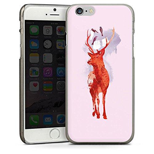 Apple iPhone 4 Housse Étui Silicone Coque Protection Cerf Art Rouge CasDur anthracite clair