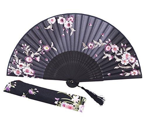 Amajiji Charming Elegante Moderne Frau handgemachte Bambus Seide 21cm (21cm) zusammenklappbar Tasche Geldbörse Hand Fan/Chinese Japanese Vintage Retro-Stil Handheld faltbar Fan