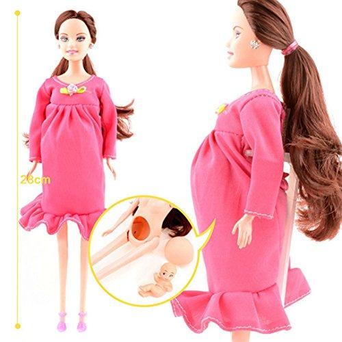 b30c72e220e10f Omiky® Rotes Kleid echte schwangere Puppe Anzug Mama Puppe haben ein Baby  in ihrem Bauch für Barbie (Rosa)