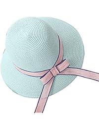Mujer / Chicas Sombrero de Playa / Sombrero para el sol / Sombrero de paja / Verano Sombrero Pamela adulto Verde claro 01