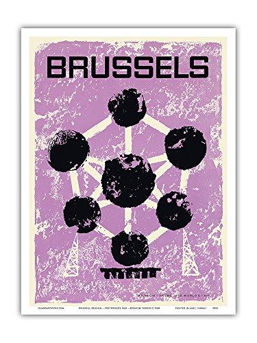 Pacifica Island Art Brüssel, Belgien - Weltausstellung 1958 - Atomium - Vintage Retro Welt Reise Plakat Poster c.1960 - Kunstdruck - 23cm x 31cm -