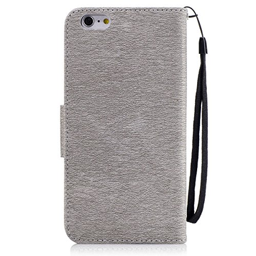 Etsue iPhone 7 Wallet Case,iPhone 7 Flip Case, Cute Retro Design Cute Cool Bear Embossing Pattern Pu Leather Flip Case Wallet Cover Book Style Type with Stand Card Holder Wrist Strap Magnetic Closure for iPhone 7 +Blue Stylus Pen+Bling Glitter Diamond Dust Plug(Colors Random)-Bear,Gray