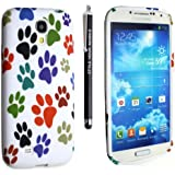 SAMSUNG GALAXY S4 I9500 I9503 I9505 I9506 SILICONE GEL PROTECTION CASE SKIN COVER + SCREEN PROTECTOR + STYLUS (MULTI DOG CAT PAW FOOT)