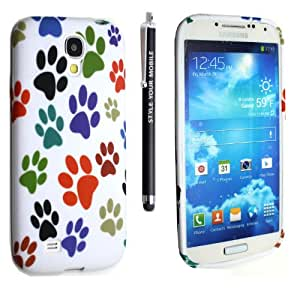 STYLE YOUR MOBILE SAMSUNG GALAXY S4 MINI i9190 VARIOUS DESIGN SILICONE SKIN PROTECTION CASE COVER + FREE STYLUS (Multi Dog Cat Paw Foot)