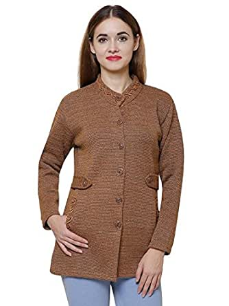 Matelco Brown Woollen With Embroidery on Neck & Pockets Coat For Women