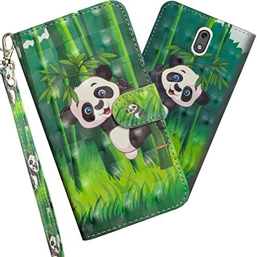 COTDINFOR Nokia 2.1 2018 Hülle 3D-Effekt Painted cool Schutzhülle PU Leder Flip Bookcase Handy Tasche Schale mit Magnet Standfunktion Etui für Nokia 2 2018 / Nokia 2.1 Climbing Bamboo Panda YX.