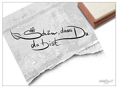 Stempel - Textstempel Schön, Dass Du DA Bist ❀ handschriftlich - Hübscher Schriftstempel für Liebe und Freundschaft - Elegant und Zeitlos - von zAcheR-fineT -
