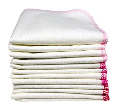 ImseVimse 1 x 12 Baumwolltücher / Waschlappen KBA-Flanell kuschelig weich sanft Roses (Bio Waschlappen)
