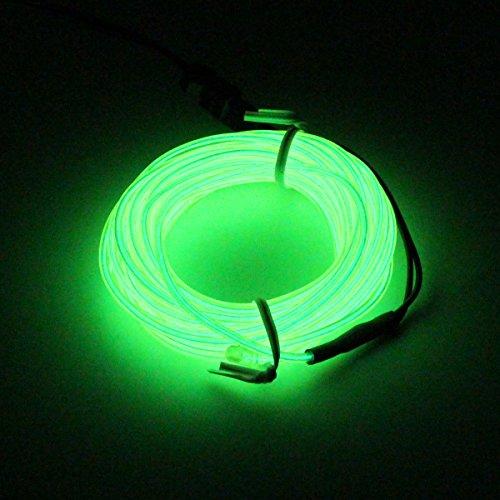 SZFC 5M(16,4ft) EL Wire Kabel Lichtschnur Band Lichtschlauch Leucht Schnüre Neon Draht Lichtband für Weihnachtsfeiern Disco Party Halloween Kostüm Kleidung +Batterie Box (Grün)